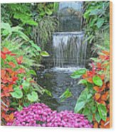 Butchart Gardens Waterfall Wood Print