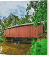 Butchers Mill Covered Bridge Wood Print