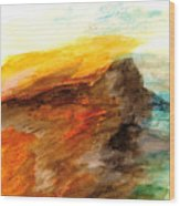 Butte At Sunset Wood Print