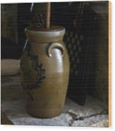 Butter Churn On Hearth Still Life Wood Print