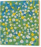 Buttercups And Daisies Wood Print