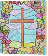 Butterflies And Cross Wood Print
