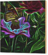 Butterflies And Flowers IIi Wood Print