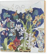 Butterflies And Orchids Wood Print
