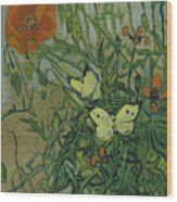 Butterflies And Poppies, 1890.  Wood Print