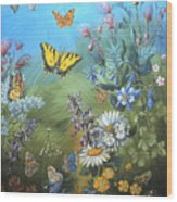 Butterflies And Wildflowers Of Wyoming Wood Print