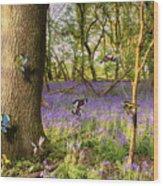 Butterflies In A Bluebell Woodland Wood Print