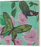 Butterflies In Flight Wood Print