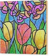 Butterflies In The Tulip Garden Wood Print