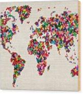 Butterflies Map Of The World Wood Print by Michael Tompsett