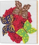 Butterflies On Roses Wood Print