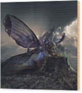 Butterfly And Caterpillar Wood Print
