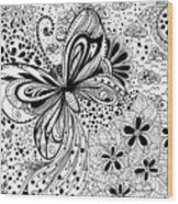 Butterfly And Flowers, Doodles Wood Print