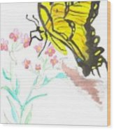 Butterfly At Play Wood Print