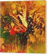 Butterfly Atop Flower Arrangement Wood Print