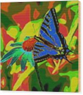 Butterfly Blues Wood Print