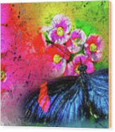 Butterfly Color Explosion Wood Print