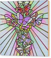 Butterfly Cross Wood Print