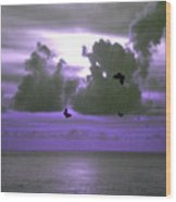 Butterfly Dreams And A Purple Sky Wood Print