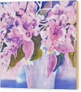 Pink Butterfly Flowers Wood Print