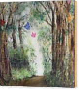 Butterfly Forest Wood Print
