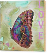 Butterfly In Beige And Teal Wood Print