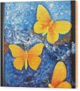 Butterfly In Blue 1 Wood Print