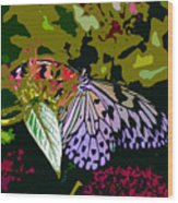 Butterfly In Garden Wood Print