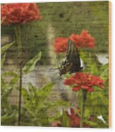 Butterfly Notes Wood Print