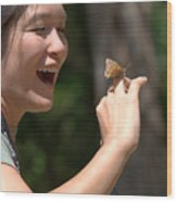 Butterfly On My Hand 2 Wood Print