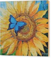 Butterfly On Sunflower Wood Print