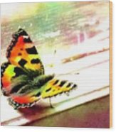 Butterfly On The Window Frame Watercolor Wood Print