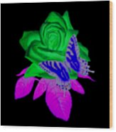 Butterfly Sitting On A Rose Wood Print