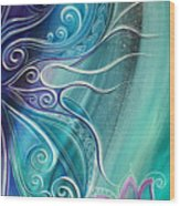 Butterfly Wing With Lotus Wood Print