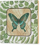 Butterfly With Leaves 2 Wood Print