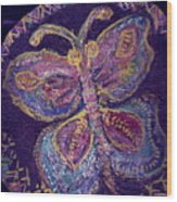 Butterfly With Stitches On Wings Wood Print
