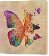 Butterfly World Map  Wood Print