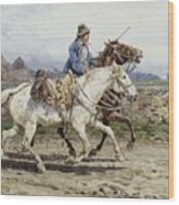 Buttero Riding In The Roman Campagna Wood Print