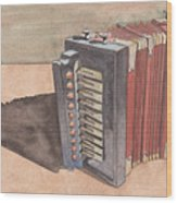 Button Accordion Wood Print