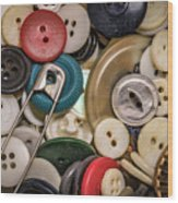 Buttons And Buttons Wood Print