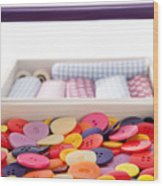 Buttons And Textile Fabrics In A Sewing Box Wood Print