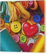 Buttons And Thread Wood Print