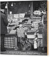 Buying Fruit Wood Print by John Rizzuto