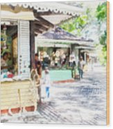 Buying Items In These Shops On The Street Wood Print