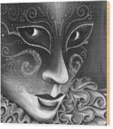 Bw- Carnival Mask Wood Print