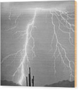 Bw Lightning From Heaven Wood Print