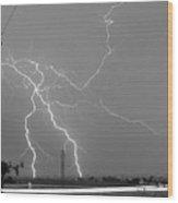 Bw Lightning Highway Strikes Fine Art Print Wood Print