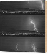 Bw Lightning Thunderstorm Sequence Wood Print