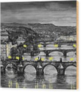 Bw Prague Bridges Wood Print
