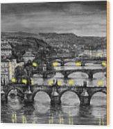 Bw Prague Bridges Wood Print by Yuriy  Shevchuk